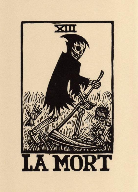 La Mort  The Death Card Tarot Linoleum Block Print by HorseAndHare