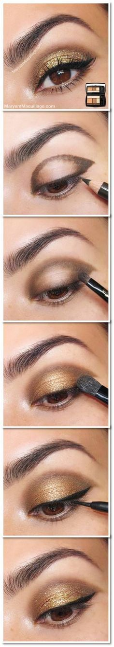 How To: Gold Glitter Eye. I have all these colors of shadow in Bare Minerals - much easier on the eyes.