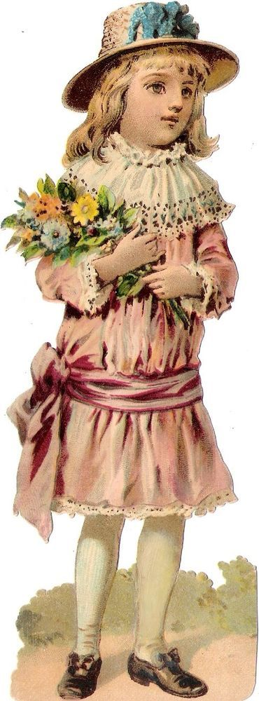 Oblaten Glanzbild scrap die cut chromo Kind  17cm child girl Mädchen bouquet: