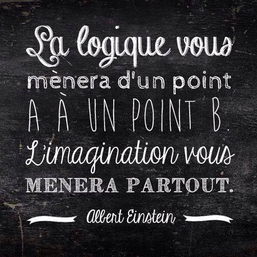 La logique vous mènera d'un point A à un point B. L'imagination vous mènera partout. Albert Einstein: