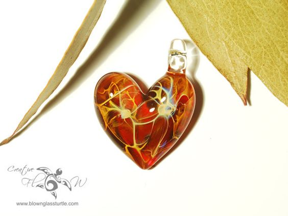 Red Fire Heart Pendant  Glass Jewelry - Handcrafted Glass Jewelry by Creative Flow Glass.