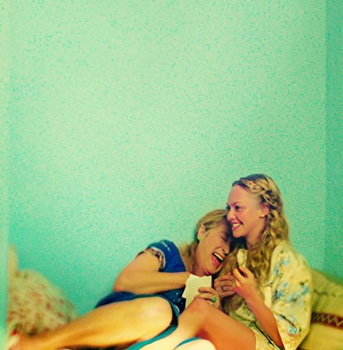 Meryl and Amanda filming Mamma Mia - one of my favorite moments in any movie…