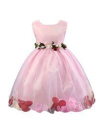 فستان بناتي جميل بزهور وبلا أكمام