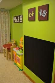 kids playroom I love the handprints. I would put a border around the chalk board paint though