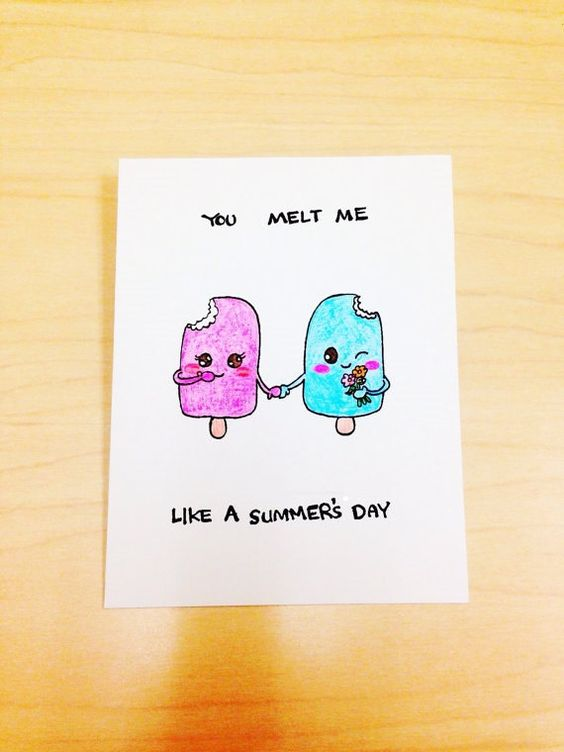 Funny anniversary card, popsicle pun card, you melt me like a summers da...