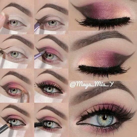Yellow pink brown wing out eyeshadow