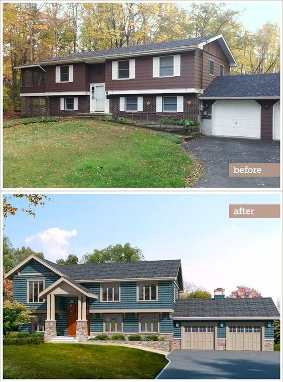 Before And After Adding together with Natural Stone Facade For House Exterior likewise Exterior House Colors Ranch Style additionally 50 Inspirational Home Remodel Before After additionally Modern Color Exterior House Design. on ranch home exterior makeover