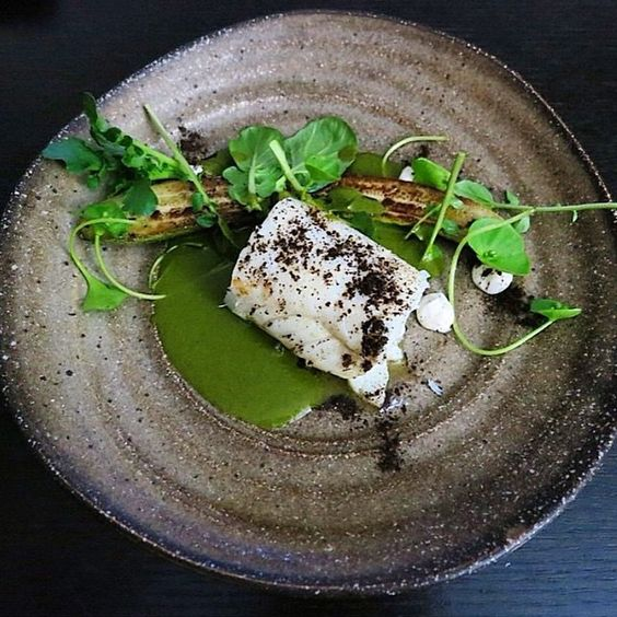 Cod with watercress and mint sauce