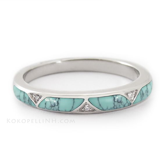 Light Blue Chinese Turquoise Wedding Band