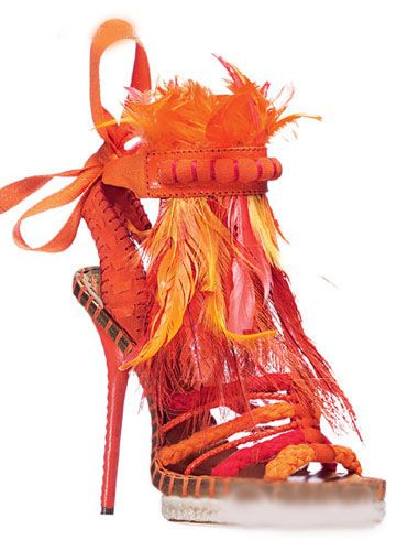 Christian Dior high heel shoes. Orange & Red. It's crazy but I love it!