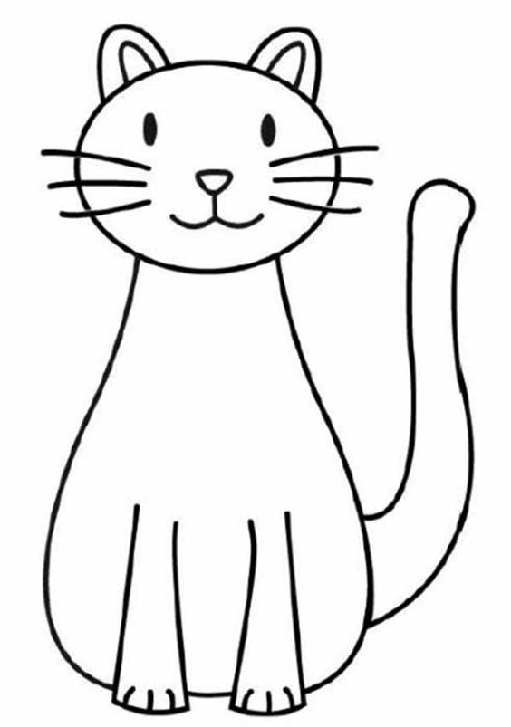 A Simple Drawing Of Kitty Cat Coloring Page Kids Play Color Simple Cat Drawing Cat Drawing For Kid Cat Face Drawing