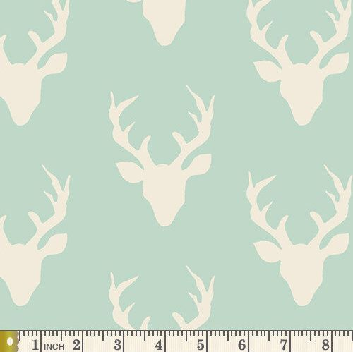 A personal favorite from my Etsy shop https://www.etsy.com/listing/269077408/hello-bear-buck-forest-mint-cotton