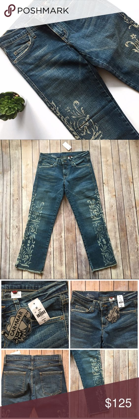 """Car Mar Floral Printed Frayed Crop Jeans LF Stores These are super cute Car Mar cropped jeans from LF Stores. Floral print on the outside of both legs. Cut off, frayed hem. Waist measures approx. 13"""" across, front rise approx. 7.25"""", and inseam approx. 23.5"""". Brand new with tags!  🚫no trades 🚫no modeling ✅dog friendly/🚭smoke free home ✅reasonable offers ✅bundle & save! LF Jeans Ankle & Cropped"""