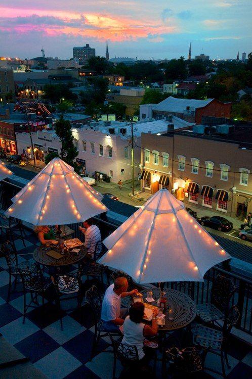 Grill 225 rooftop, Charleston - love lights inside umbrella