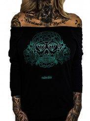 "Women's ""Rose Skull"" 3/4 Sleeve Tee By Rudechix (Black)"