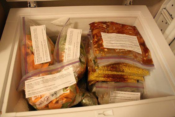 Healthy Slow Cooker/Crock Pot Meals to Freeze - Chicken taco chili, honey sesame chicken, santa fe chicken