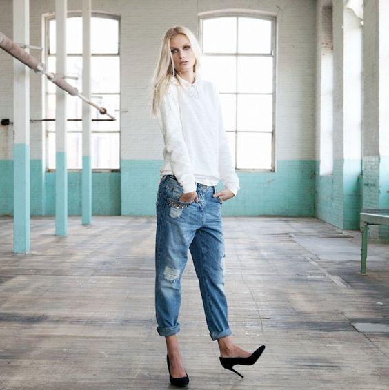 Bershka lookbook octubre 2012 - jeans rotos y zapatos