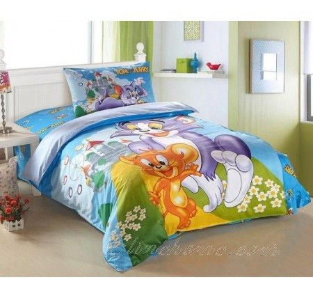 Tom and Jerry Blue Bedding