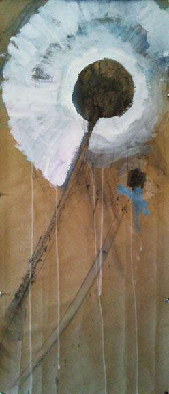 Dandelion, mixed media on paper by Rima Muna www.rimamuna.com