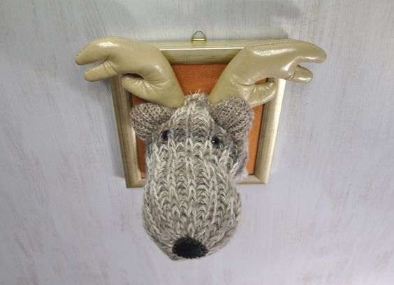 Reindeer bust Moose portrait Handmade Soft sculpture Original perfect gift Wall decor Kids room Beige brown gold Animal lovers Trophy OOAK - pinned by pin4etsy.com