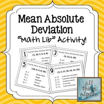 Mean Absolute Deviation Math Lib | Activities, Math and Activity ...