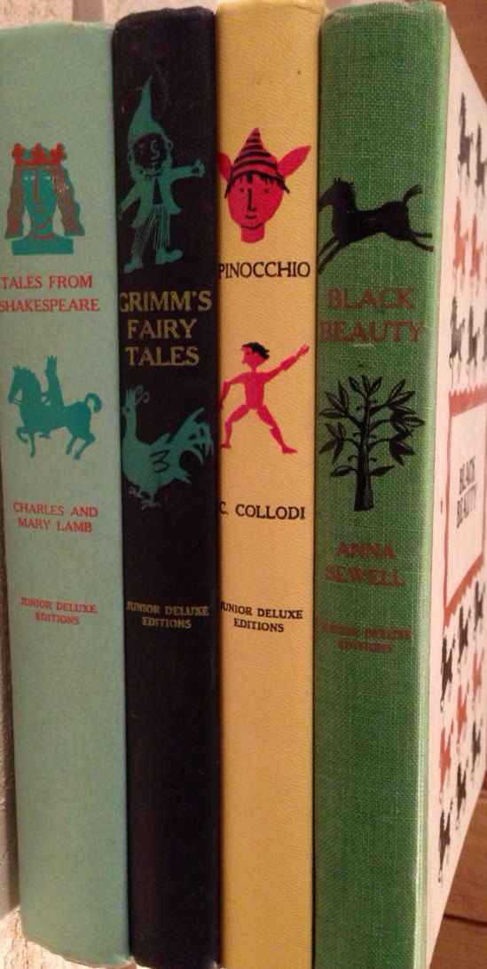 1950's Hardback Classic Book (Pinocchio, Grimm's Fairy Tales (SOLD), Black Beauty, and Tales From Shakespeare) on Etsy, $20.00