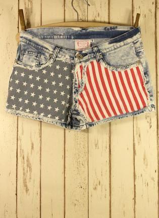 American Flag Washed Denim Shorts,  Bottoms, flag short flag jeans flag pants, Chic