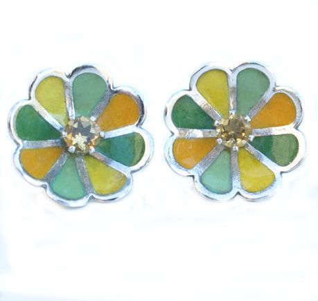 fruity enamel earrings citrine  http://www.barbara-macleod.com