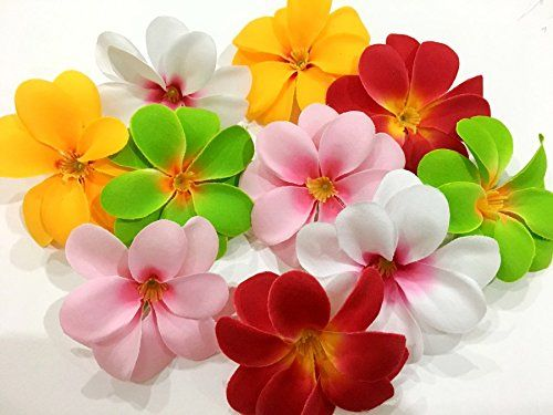 Icrafy 50 Assorted Hawaiian Plumeria Frangipani Silk Flower Heads 3 Artificial Flowers Head Fabric Floral Supplies Wholesale Wedding Accessories Bridal Hai Silk Flower Arrangements Floral Supplies Wholesale Silk Flowers