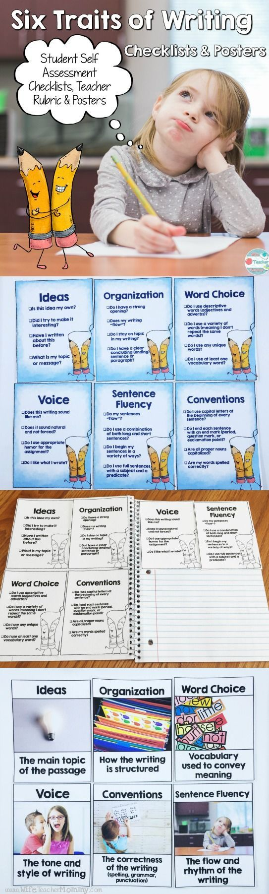 Six Traits of Writing Posters and Checklists. These are perfect for student's notebooks! Students can self assess their own writing using the six traits. The six traits posters with real pictures are perfect for a word wall or to hang in your classroom! https://www.teacherspayteachers.com/Product/6-Six-Traits-of-Writing-Posters-and-Student-Checklists-1560349