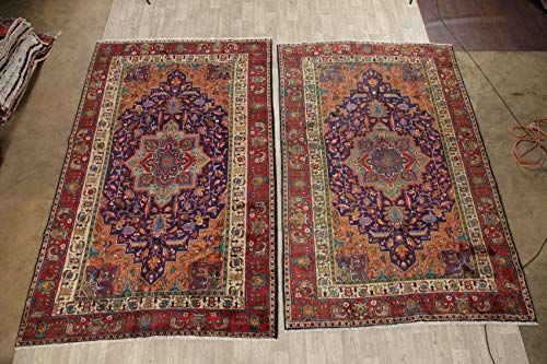 Pair Of 2 Tabriz Persian Stunning Traditional Geometric Oriental Area Rug Wool Hand Knotted Dining Room Carpet 7x In 2020 Wool Area Rugs Oriental Area Rugs Room Carpet