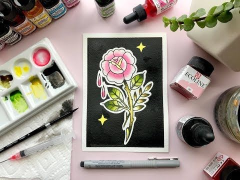 Tattoo Flash Rose Painting With Ecoline Liquid Watercolor Dr Ph
