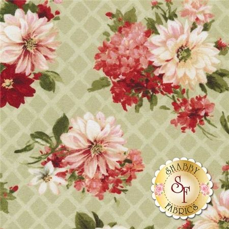 """From Paris With Love 86352-737 Floral Allover Green by Lisa Audit for Wilmington Prints: From Paris With Love is a collection by Lisa Audit for Wilmington Prints. This fabric features floral bouquets tossed all over on a lattice green background.Width: 43""""/44""""Material: 100% CottonSwatch Size: 6"""" x 6"""""""