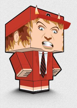 Paper toy Angus Young, created by Ivan Bogard