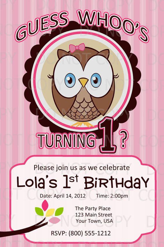 Printable DIY Owl First Birthday Birthday by onelovedesignsllc, $10.00