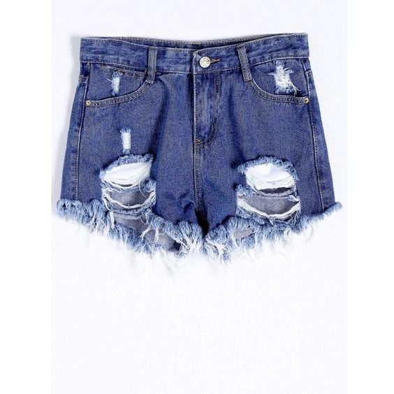 Chic Broken Hole Pocket Design Frayed Hem Women's Denim Shorts ($18) ❤ liked on Polyvore featuring shorts, short jean shorts, denim shorts, denim short shorts and jean shorts