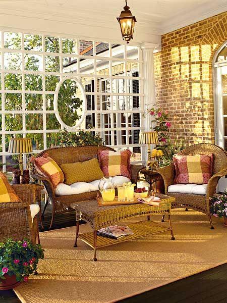 Porch décor... love the lattice