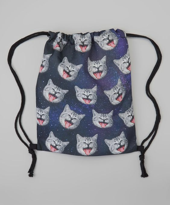 Blue & Gray Crying Cats Drawstring Backpack by Kitschy Cute #zulily #zulilyfinds