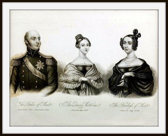 Engraving of 1838 showing Queen Victoria with her parents .