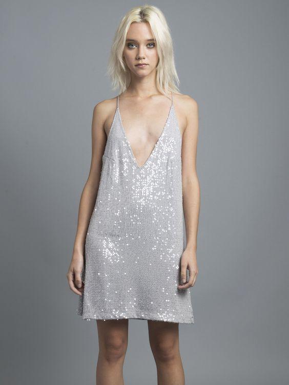 Grey Sequin Slip Dress - Beautiful- Dance floors and Grey