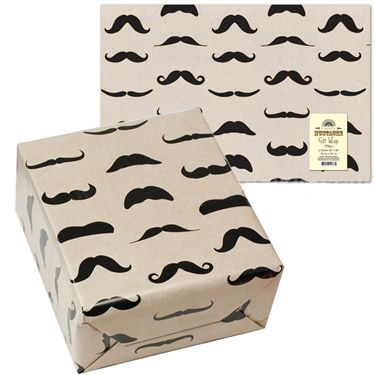 """This high quality gift wrap features an impressive array of mustache shapes and styles. Everyone loves a gift wrapped with multiple mustaches! $3.95    Two 20"""" x 30"""" (50.8 cm x 76.2 cm) sheets of quality wrapping paper."""