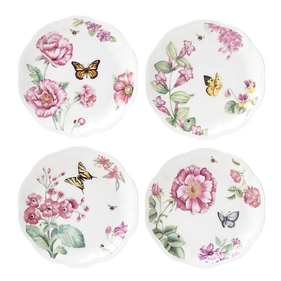"""Butterfly Meadow® Bloom 4-pc 8"""" Dessert Plate"""
