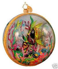 Christopher Radko CORAL REEF REFLECTIONS Fish Ball Christmas Ocean theme ornament NEW for SALE