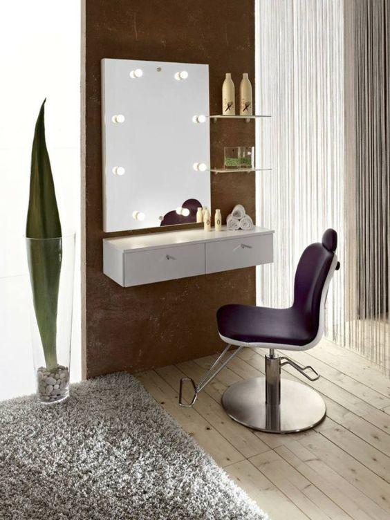 meuble coiffeuse blanche à fixer au mur muni de tiroirs, étagères ...