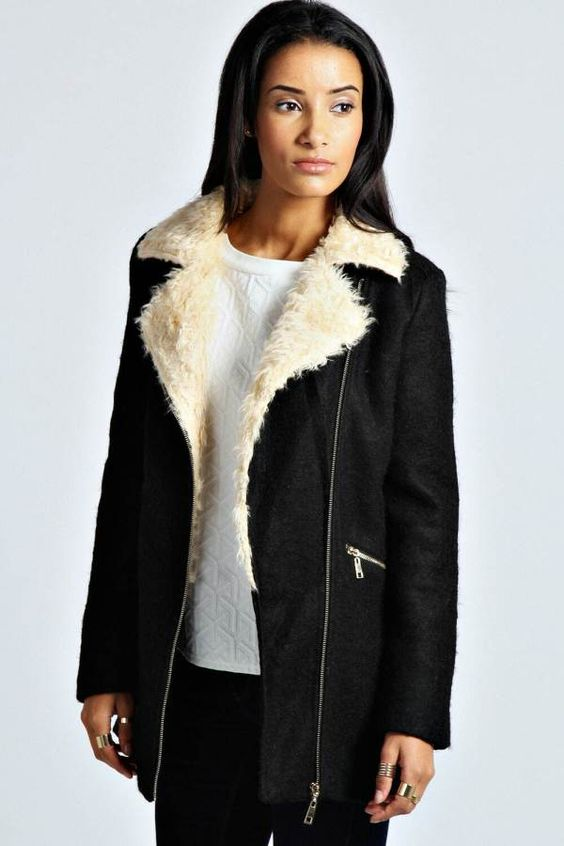 Emma Shearling Collar Wool Coat - $85.00 | Coats & Jackets