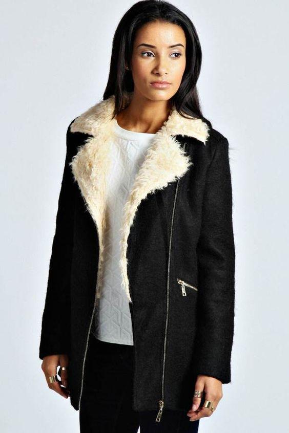 Emma Shearling Collar Wool Coat - $85.00 | Coats & Jackets