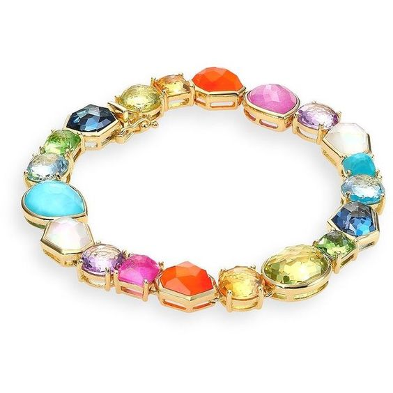 IPPOLITA Rock Candy Collection Rainbow Tennis Bracelet (€6.095) ❤ liked on Polyvore featuring jewelry, bracelets, apparel & accessories, 18k bangle, rock jewelry, rainbow jewelry, 18k jewelry and 18 karat gold jewelry