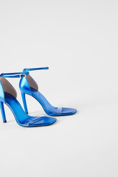 BLUE COLLECTION HEELED LEATHER SANDALS
