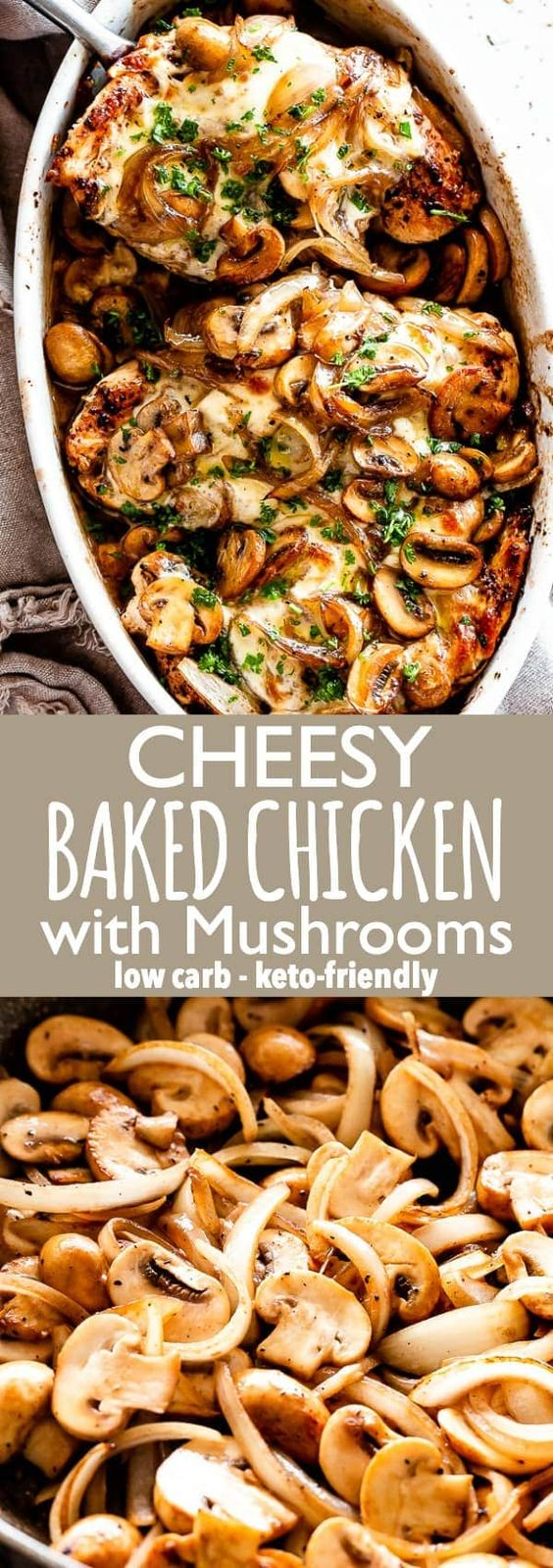 Cheesy Baked Chicken with Mushrooms - An easy recipe for baked chicken breasts covered in melty mozzarella cheese and layered with deliciously caramelized mushrooms. This effortless chicken dish is a great dinner for any night of the week. #bakedchicken #chickenrecipes #mushrooms #cheese #lowcarb #ketorecipes