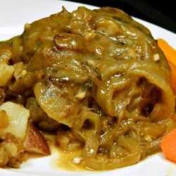 ... in a creamy mushroom sauce is served over rice and topped with cheese